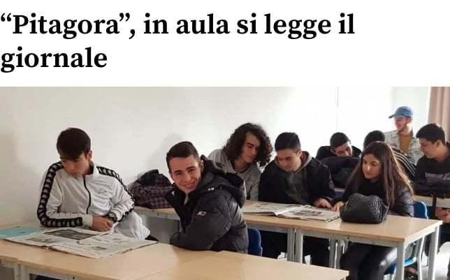 """La Nuova Sardegna – """"Pitagora"""", in aula si legge il giornale"""
