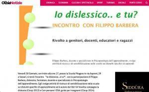 """Incontro a Sassari """"Io dislessico, e tu?"""" con Filippo Barbera"""